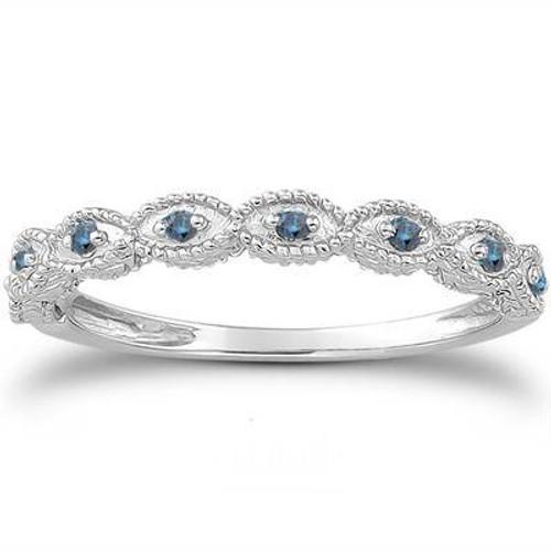 1/10 cttw Vintage Blue Diamond Wedding Ring 14K White Gold (Blue, I1-I3)