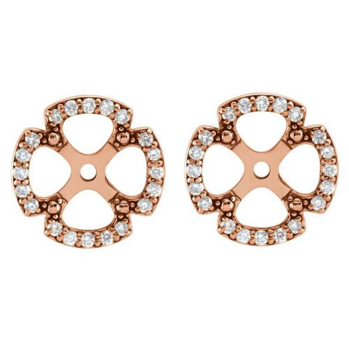 1/5Ct Clover Diamond Earring Jackets 14K Rose Gold (5-5.5mm) (H-I, I1)
