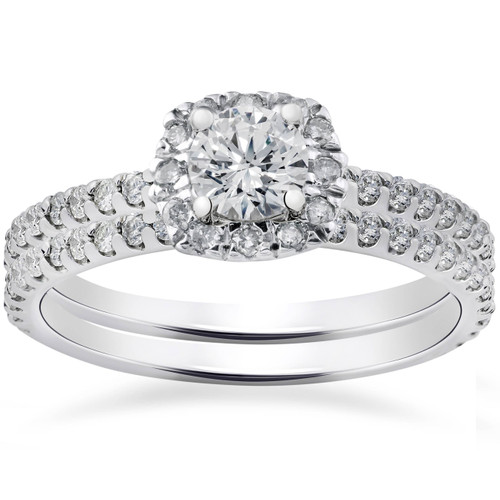 1ct Cushion Halo Lab Created Diamond Engagement Wedding Ring Set 14K White Gold (((G-H)), SI(1)-SI(2))