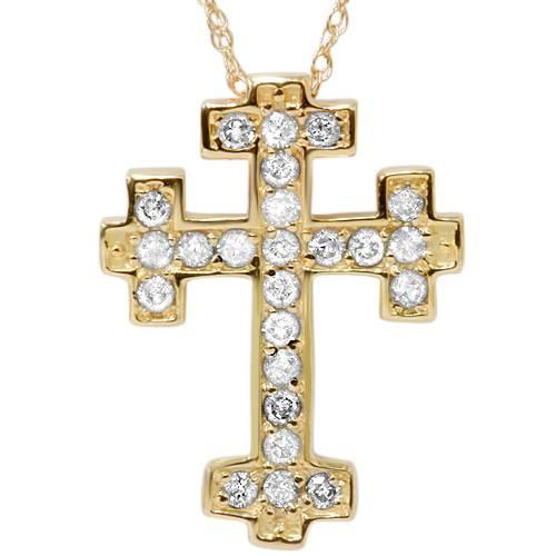"1/2ct Diamond Cross Pendant 14K Yellow Gold 3/4"" Tall (G/H, I1-I2)"