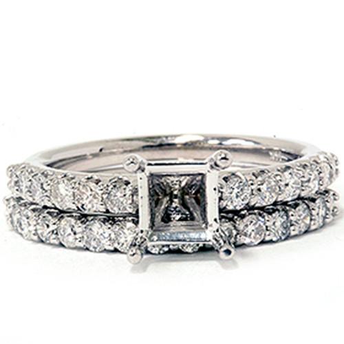 1ct SI Half Eternity Diamond Wedding Ring Set 14K White Gold (G/H, SI)