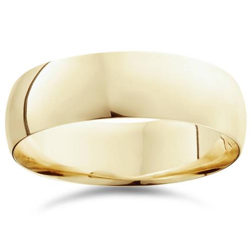 7mm Dome High Polished Wedding Band 14K Yellow Gold
