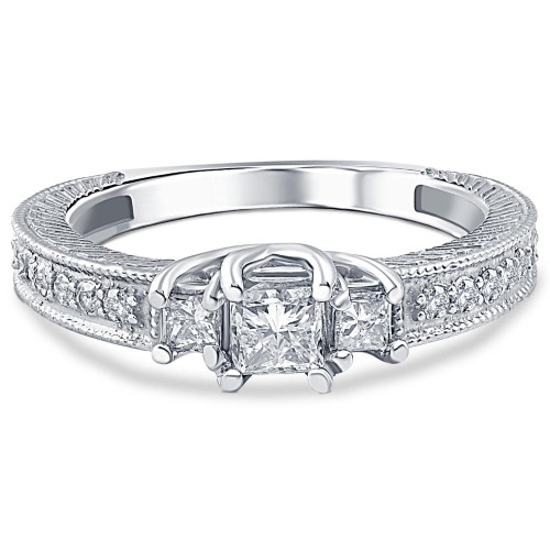 1/2ct Vintage Three Stone Princess Cut Diamond Engagement Ring 14K White Gold (H, SI2)