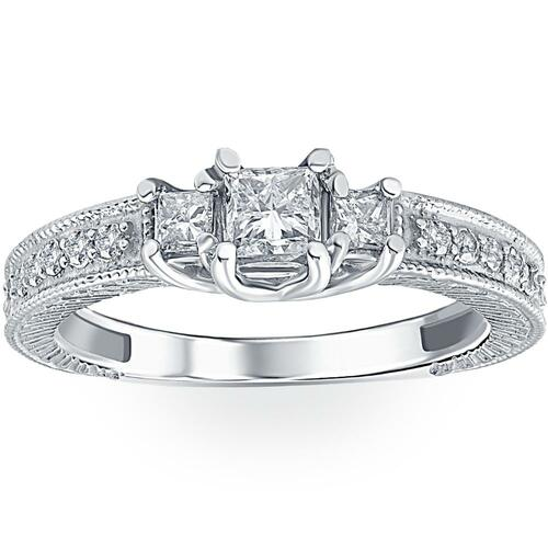 1/2ct Vintage Three Stone Princess Cut Diamond Engagement Ring 14K White Gold (H, SI2)