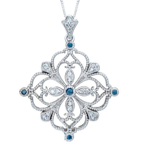 1/2ct Blue & White Diamond Filigree Vintage Diamond Pendant 14K White Gold (G/H, I1)