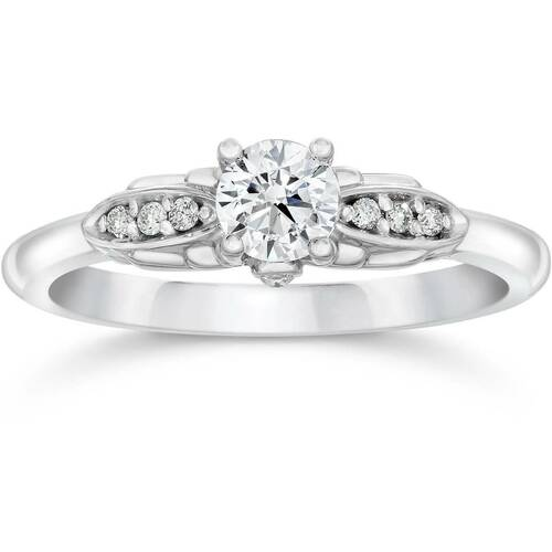 1/2ct Diamond Vintage Engagement Ring 14K White Gold (G/H, I1)