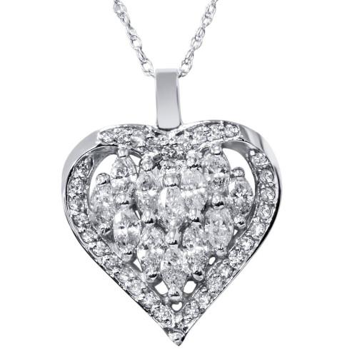 1 1/4ct Hear Shape Marquise Diamond Pendant 14K White Gold (G/H, SI)