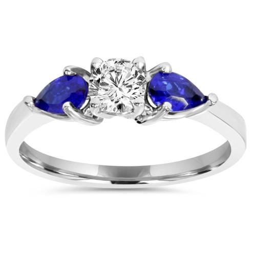1ct 3 Stone Pear Shape Blue Sapphire & Diamond Engagement Ring 14K White Gold (H/I, I1-I2)