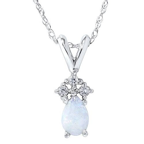 """Pear Shape Opal & Diamond Solitaire Pendant 14K White Gold With 18"""" Chain (G, I2-I3)"""