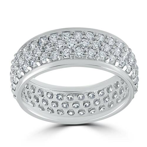 3 5/8ct Pave Diamond Eternity Ring 14K White Gold (H/I, I1-I2)