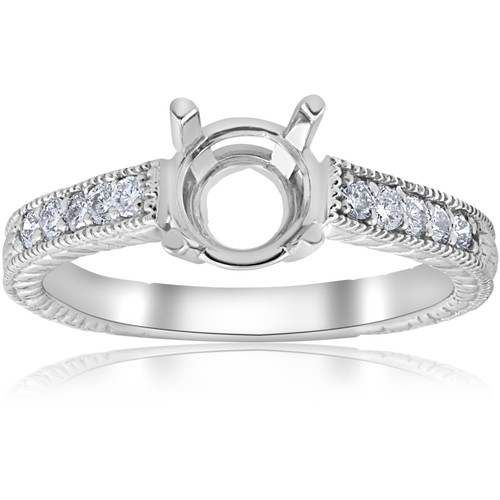 1/5ct Hand Engraved Diamond Engagement Ring Setting 14k White Gold Fits 6-6.5mm (G/H, SI)