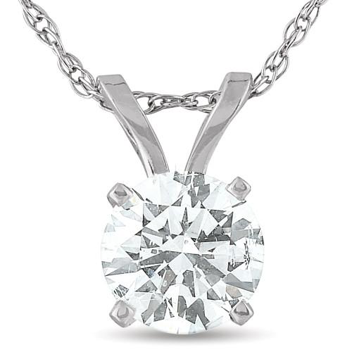 1/2 Carat Solitaire Lab Grown Diamond Pendant 14K White Gold (G, SI)