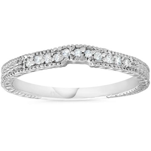 1/10ct Vintage Diamond Notched Wedding Ring 14K White Gold (H/I, I2)