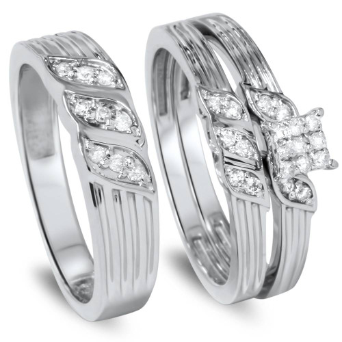 1/3ct Engagement Trio Ring Set 10K White Gold (I/J, I2-I3)