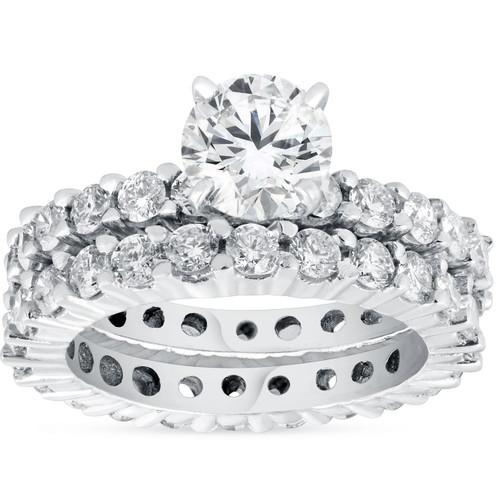 4ct Diamond Eternity Engagement Ring Set 14K White Gold (G/H, I1-I2)