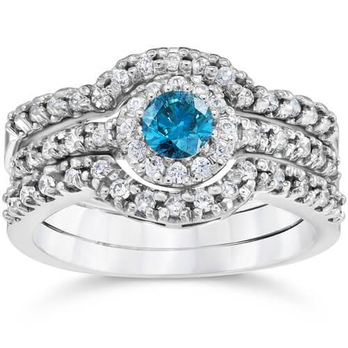 1 1/10Ct Heat Treated Blue Diamond Trio Engagement Guard Ring Set 10K White Gold (H/I, I2-I3)