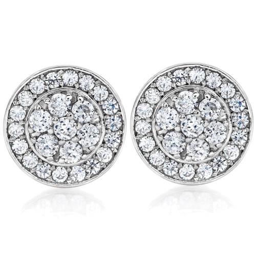 1/2Ct Diamond Halo Studs 10K White Gold (H-I, I1-I2)