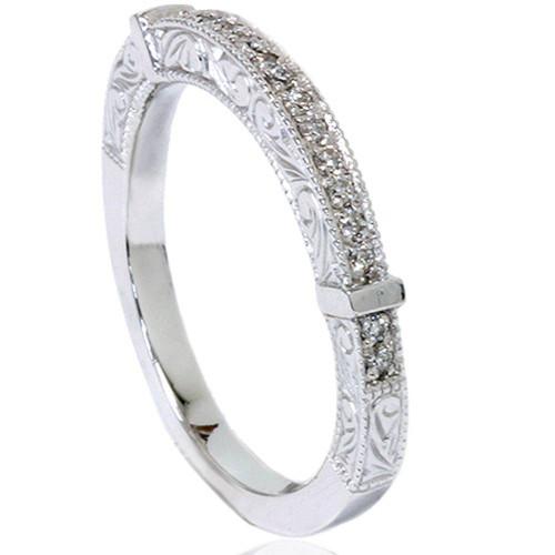 1/4ct Vintage Heirloom Diamond Wedding Ring 14K White Gold (G/H, SI)