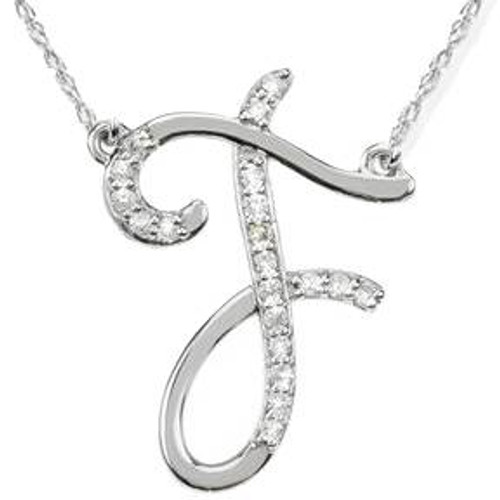 "1/4ct Diamond ""F"" Initial Pendant 18"" Necklace 14K White Gold (G/H, I2)"