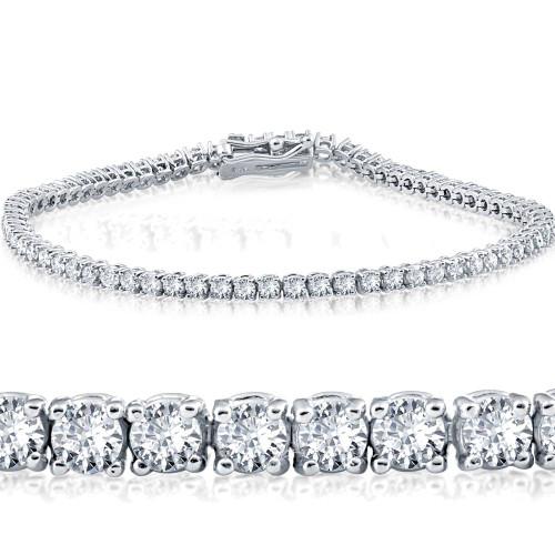 "G/SI 3ct. Round Cut Diamond Tennis Bracelet In 14k White Gold 7"" ((G-H), SI(1)-SI(2))"