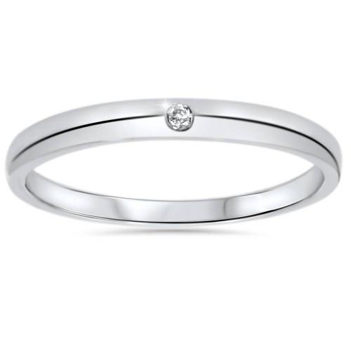 1/30ct 2.5mm Solitaire Diamond Wedding Promise Ring 14K (G, I1)
