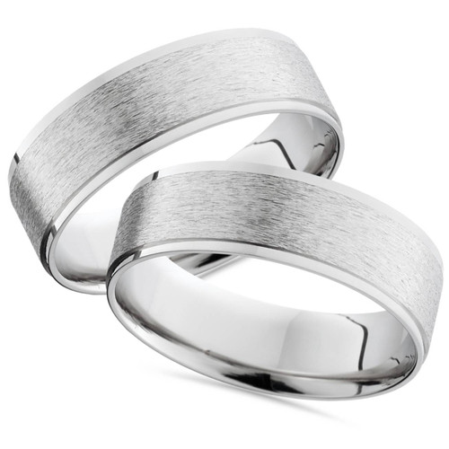 14K White Gold His Hers Brushed Wedding Band Ring Set