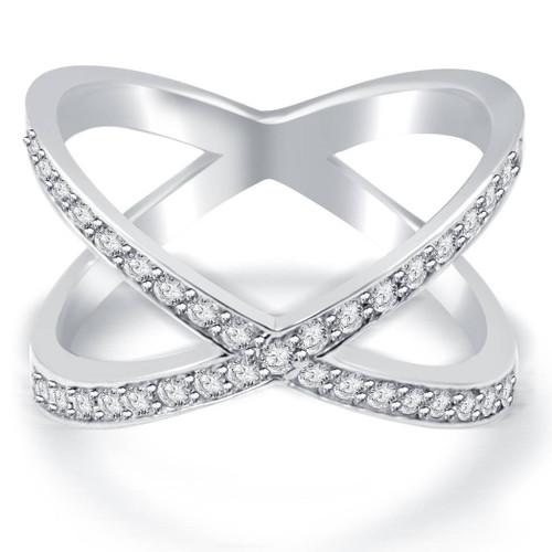 3/8ct Diamond Cris Cross Over Ring White Gold (G/H, I1-I2)