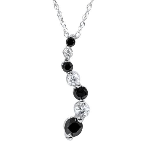 White Gold 1/2ct Black & White Diamond Journey Pendant (G/H, SI)