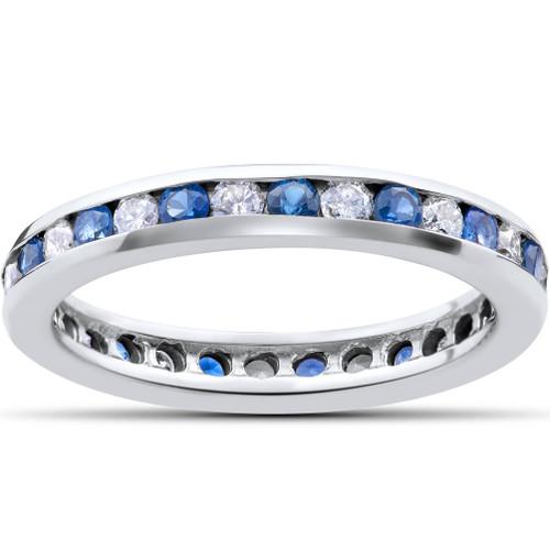 1 1/2ct Diamond & Sapphire Eternity Ring 14K White Gold (G/H, I1)