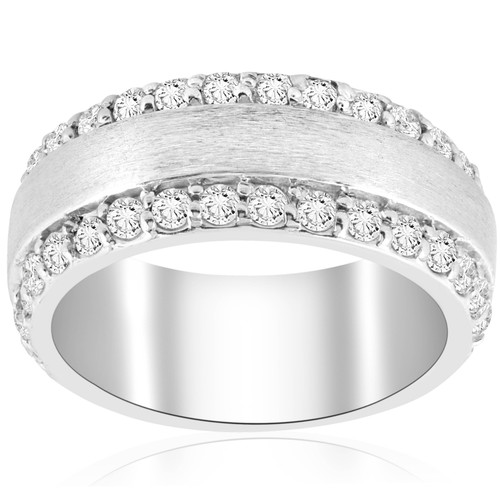 2 3/4 CT Double Row Brushed Wide Wedding Anniversary Ring 14K White Gold (H/I, I1-I2)