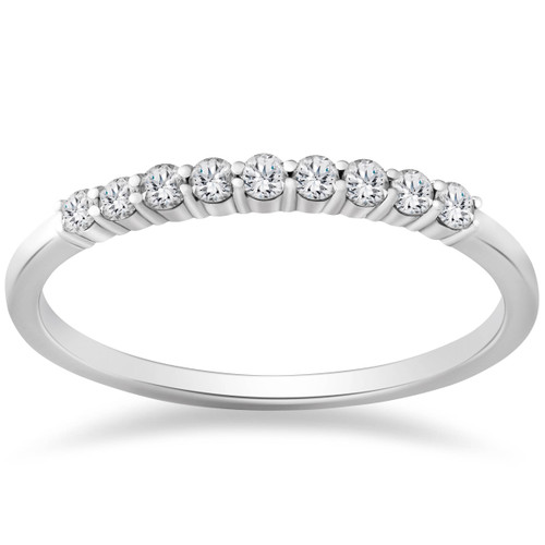 1/4ct Lab Created Diamond Wedding Stackable Ring 14K White Gold (((G-H)), SI(1)-SI(2))