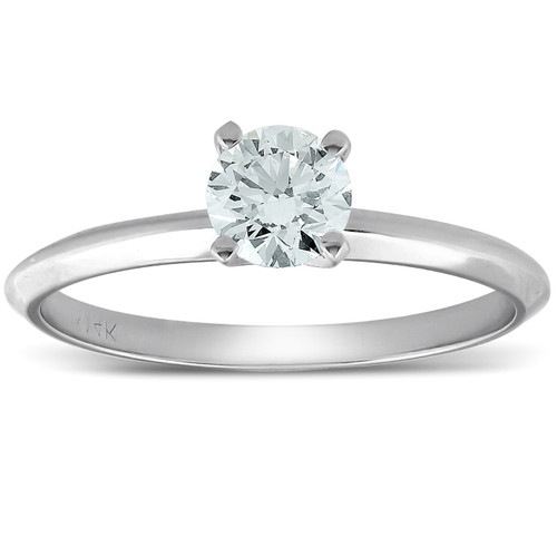 0.35ct Round Diamond Engagement Solitaire Ring 14k white gold (H/I, VS2)