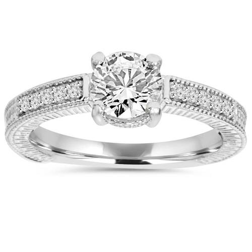 1ct Vintage Diamond Ring 14K White Gold (G/H, I1)