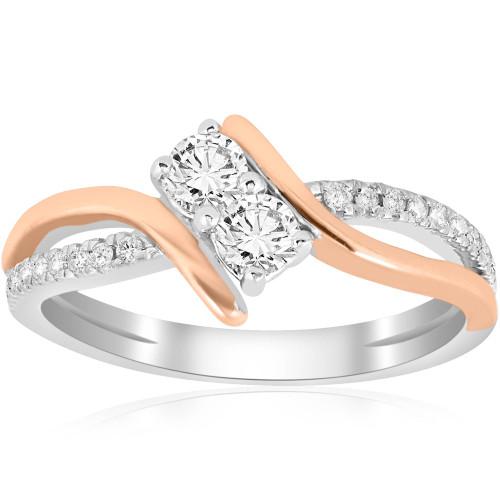 5/8CT Forever Us 2 Stone Diamond Ring 14K White & Rose Gold (H/I, I1-I2)