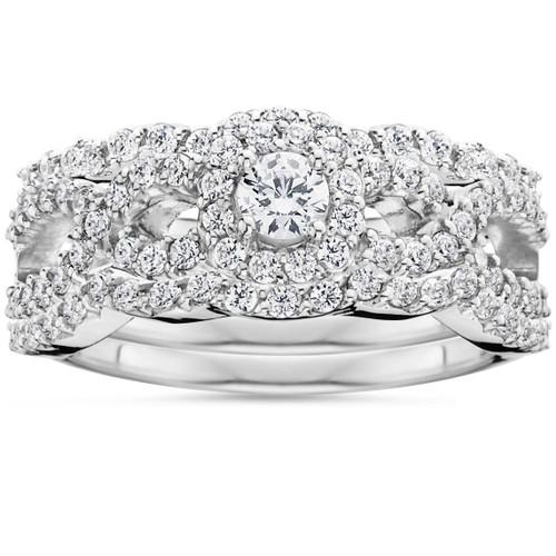 1 1/10Ct Diamond Engagement Bridal Wedding Ring Set 10K White Gold (H/I, I1-I2)