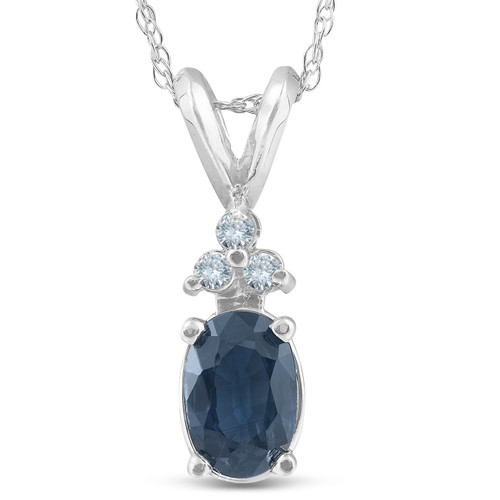 1/2ct Blue Sapphire Oval Shape & Diamond Pendant 14K White Gold (G, I1)