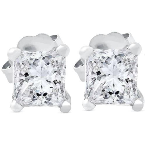 1ct Princess Cut Real Diamond Studs 14K White Gold (I-J, SI1-SI2)