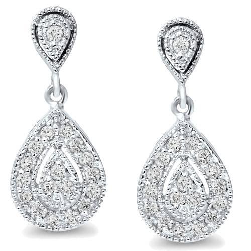 1/2ct Pear Shape Dangle Diamond Earrings 10K White Gold (H/I, I2-I3)