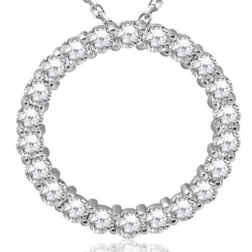 5ct Diamond Circle Pendant 14K White Gold (G-H, SI)
