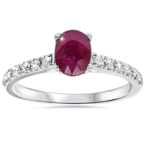 7/8ct Oval Ruby & Diamond Ring 14K White Gold (G/H, I1)