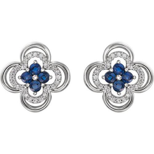.70CT Diamond & Blue Sapphire Clover Studs Earrings 14K White Gold (G/H, I1)
