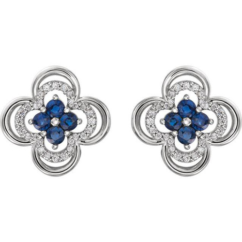 .70CT Diamond & Blue Sapphire Clover Studs Earrings 14K White Gold (G/H, I1)