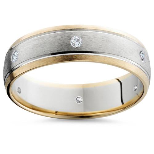 Mens Diamond 14K Gold 2-Tone Brushed Wedding Band 6MM (G/H, SI2)