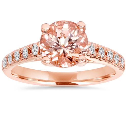 8MM Morganite & 1/4 Carat Diamond 14K Rose Gold Engagement Ring (1 3/4TW) (H/I, SI2-I1)