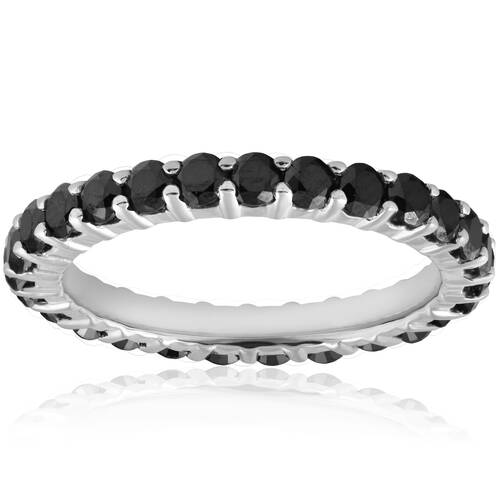 1 1/2ct Black Diamond Eternity Ring 14K White Gold (Black, )