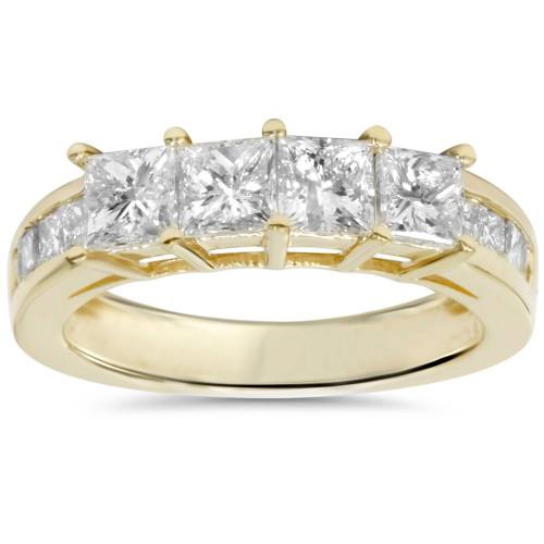 1 1/4ct Princess Cut Diamond Ring 14K Yellow Gold (G/H, SI2-I1)