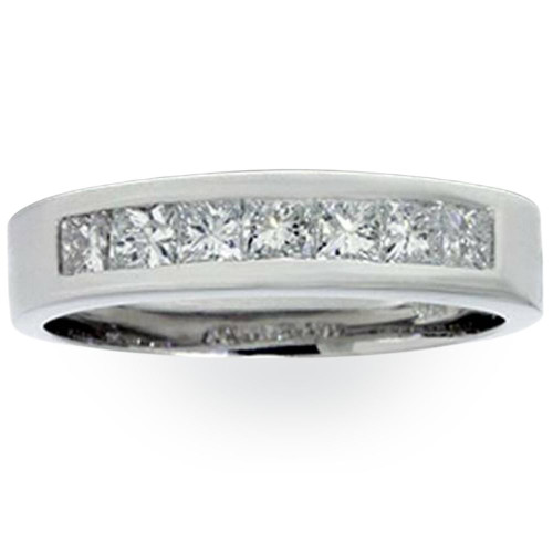 1 1/2ct Princess Cut Mens Real Diamond Wedding 14K Ring (G/H, SI)