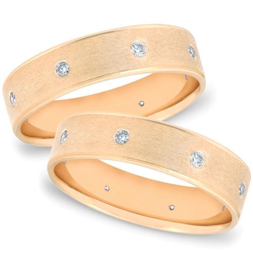 Gold 2ct Comfort Brushed Diamond Wedding Ring Set (G/H, SI)