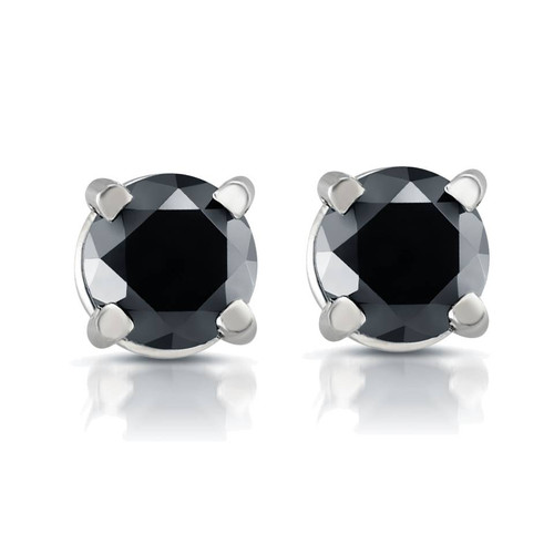 White Gold 1/2ct Round Cut Black Diamond Studs 14k (Black, AAA)