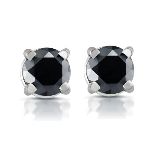 White Gold 1/2ct Round Cut Black Diamond Studs 14k (Black, AAA)
